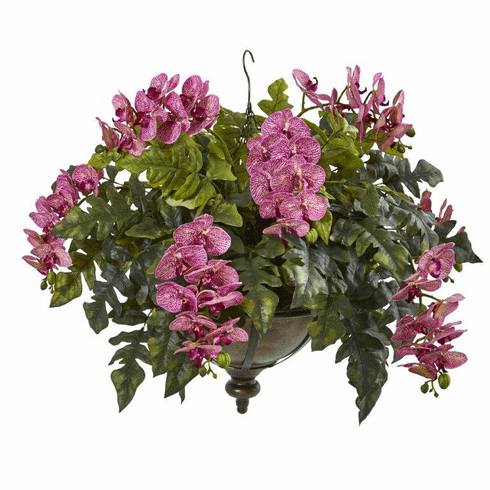 "25"" Phalaenopsis Orchid and Holly Fern Artificial Plant in Metal Hanging Bowl - Purple Cream"
