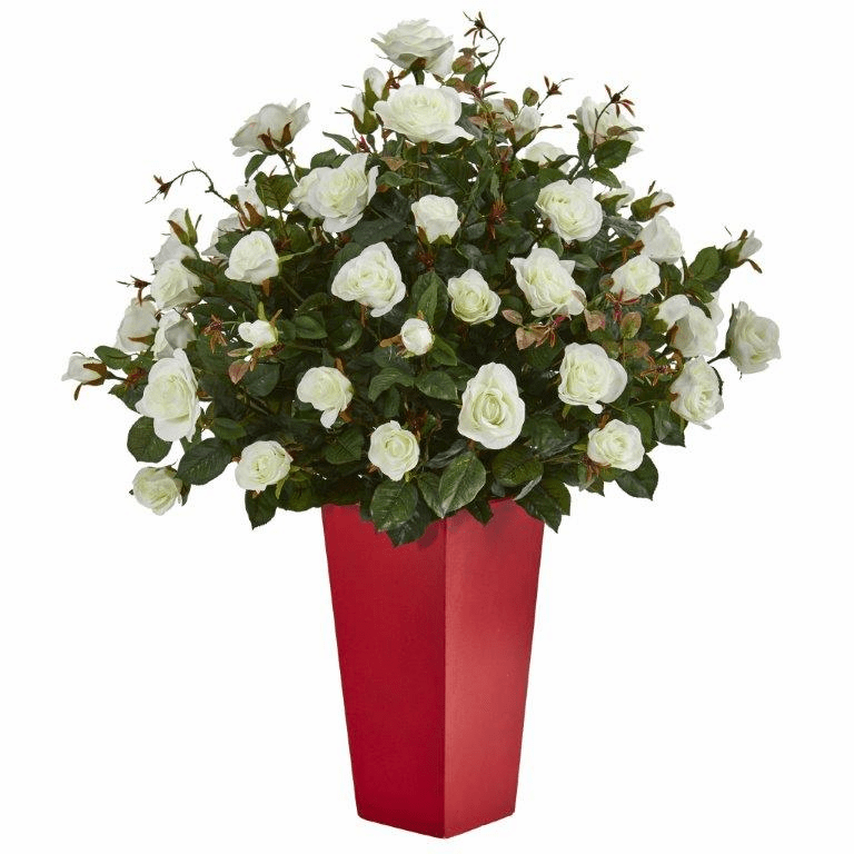 "25"" Rose Bush Artificial Plant in Red Planter"