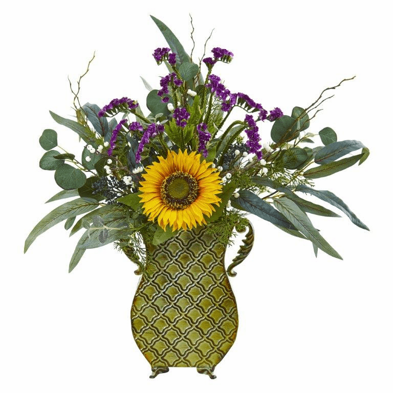 25� Sunflower, Eucalyptus and Berries Artificial Plant in Metal Planter -