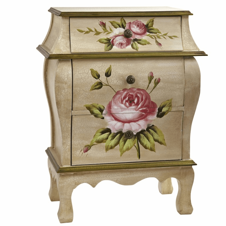 "26.5"" Antique Style Night Stand With Floral Art"