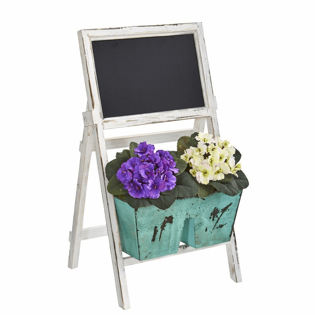 26� African Violet Artificial Plant in Farmhouse Stand with Chalkboard