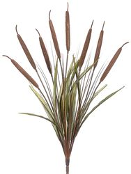 """26"""" Artificial Cattail Grass Bush Stem with 8 Cattails - Set of 12"""