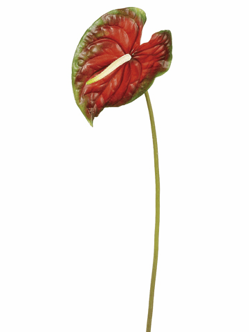 "26"" Artificial Large Anthurium Flower Spray - Set of 12"