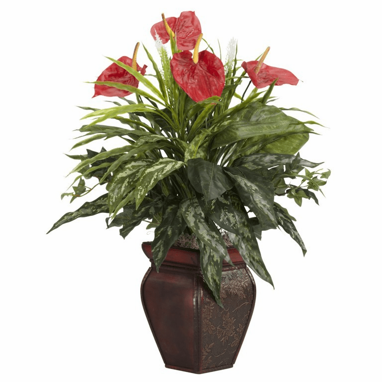 "26"" Artificial Mixed Greens & Anthurium in Decorative Vase Silk Plant"