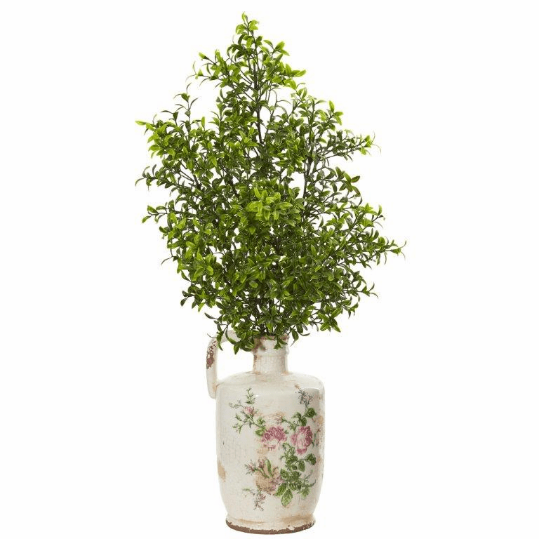 26� Boxwood Artificial Plant in Floral Print Vase