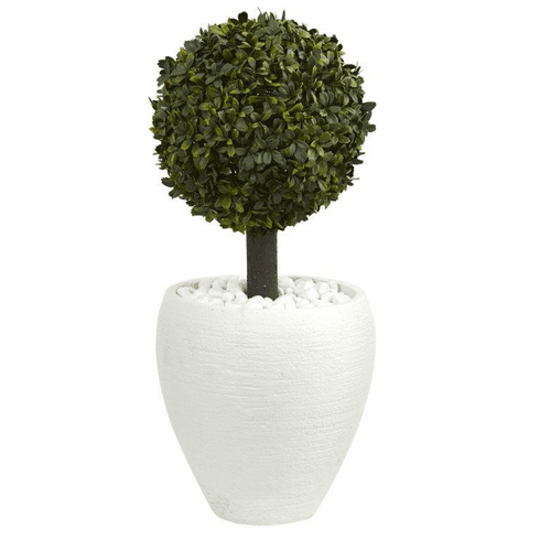 "26"" Boxwood Topiary Artificial Tree in White Oval Planter (Indoor/Outdoor)"