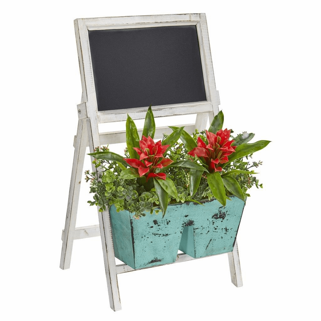 26� Bromeliad and Eucalyptus Artificial Plant in Farmhouse Stand with Chalkboard