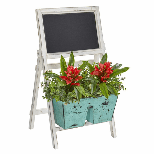 """26"""" Bromeliad and Eucalyptus Artificial Plant in Farmhouse Stand with Chalkboard"""