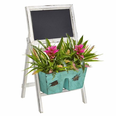 """26"""" Bromeliad and Grass Artificial Plant in Farmhouse Stand with Chalkboard"""