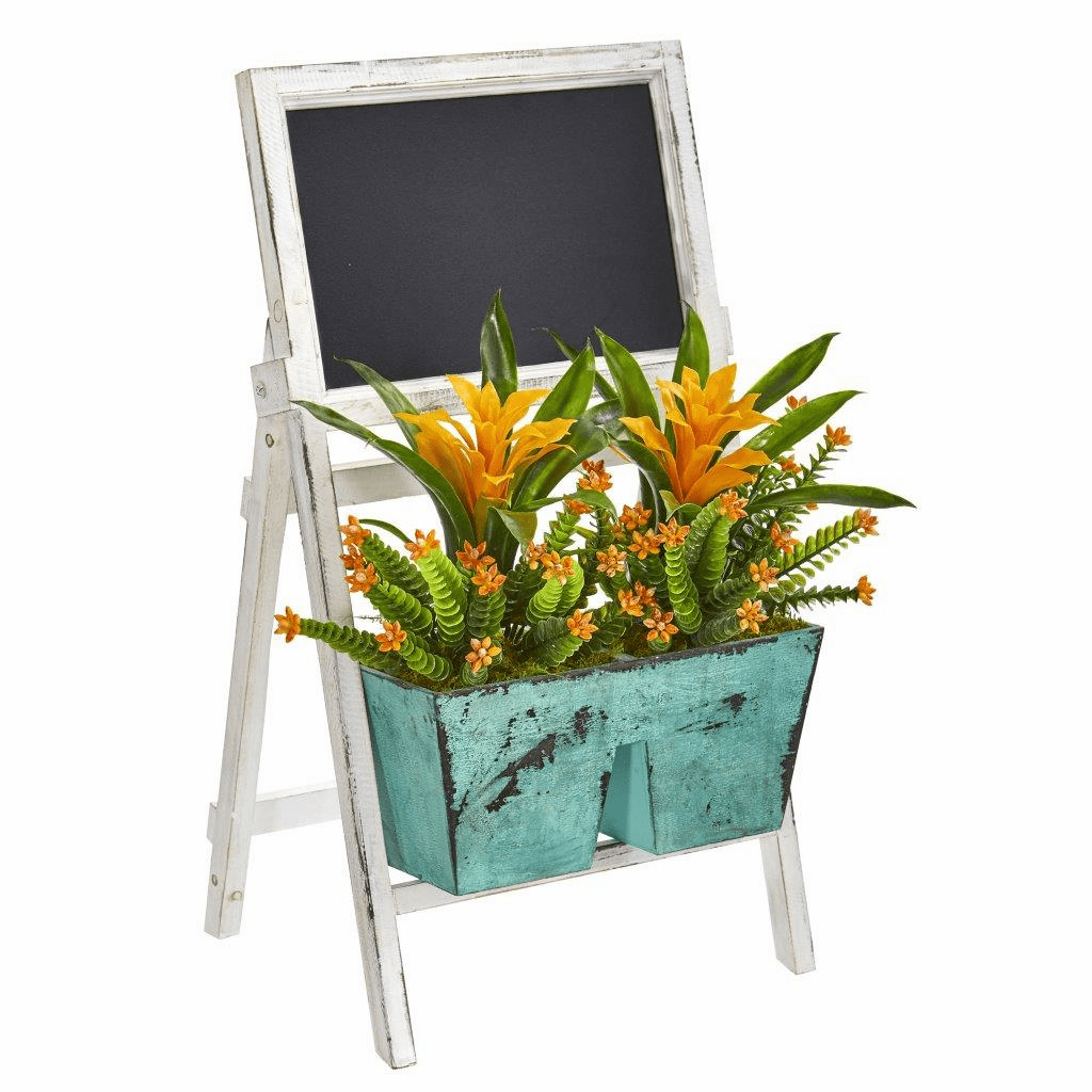 26� Bromeliad and Succulent Artificial Plant in Farmhouse Stand with Chalkboard