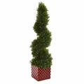 "26"" Cedar Spiral Artificial Topiary Tree in Red Ceramic Cube"