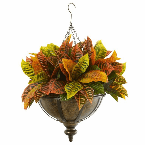 """26"""" Garden Croton Artificial Plant in Hanging Metal Bowl (Real Touch)"""