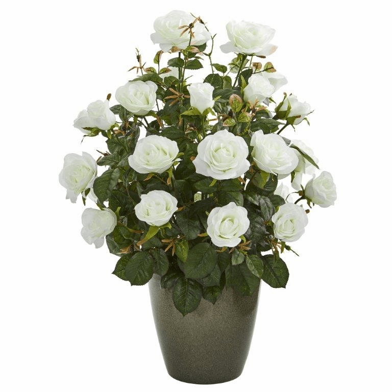 26� Garden Rose Artificial Plant in Green Planter