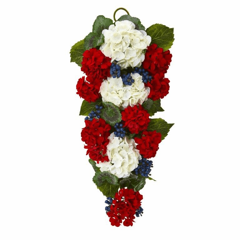 26� Geranium and Blue Berry Artificial Teardrop