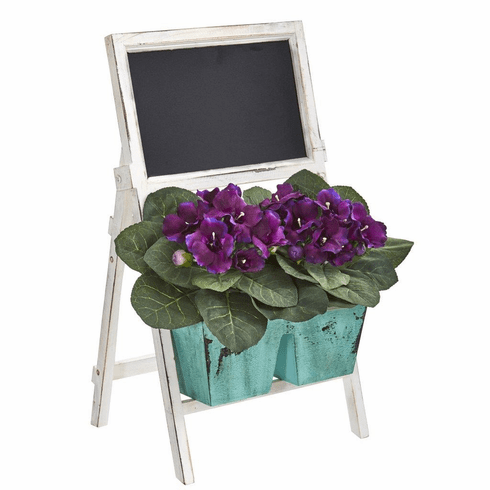 "26"" Gloxinia Artificial Plant in Farmhouse Stand and Chalkboard"