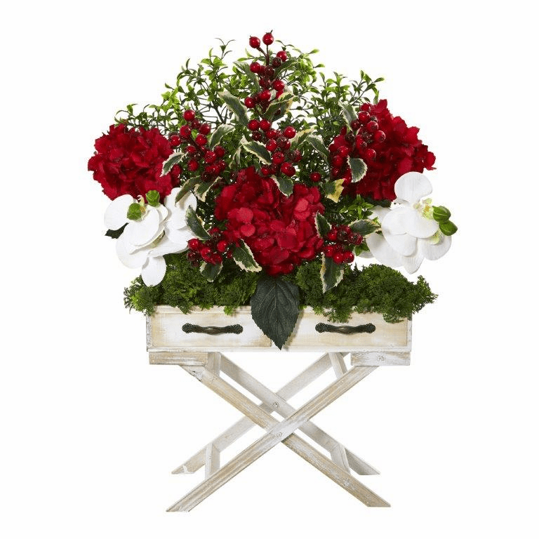 26� Hydrangea, Phalaenopsis Orchid and Holly Berry Artificial Arrangement in Drawer Planter -