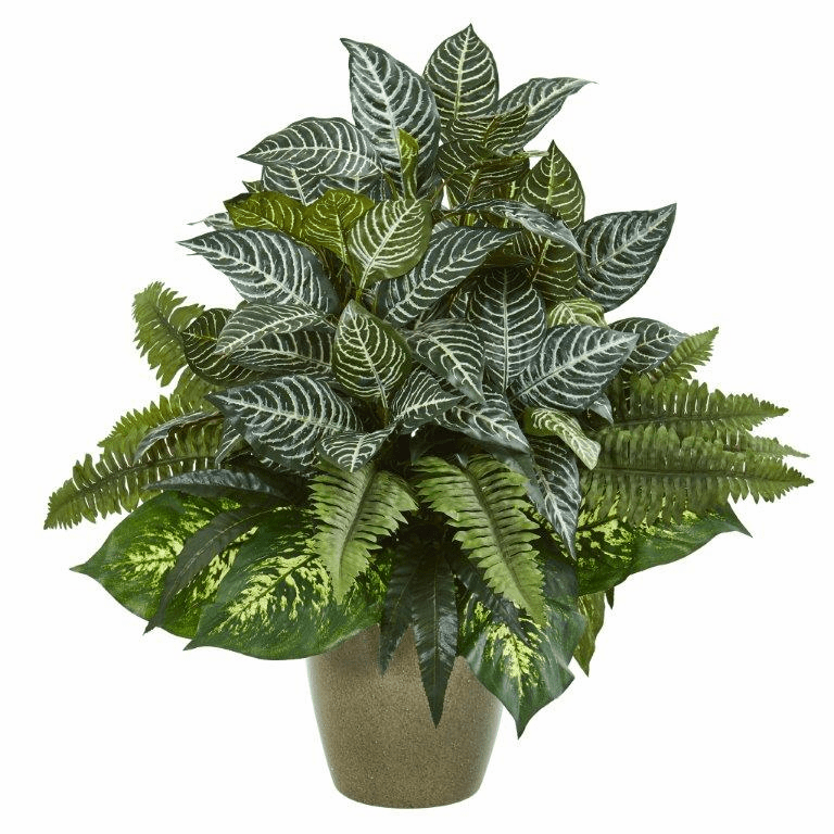 26� Mix Greens Artificial Plant in Green Planter