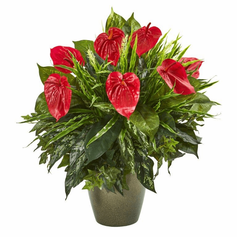26� Mixed Anthurium Artificial Plant in Green Planter