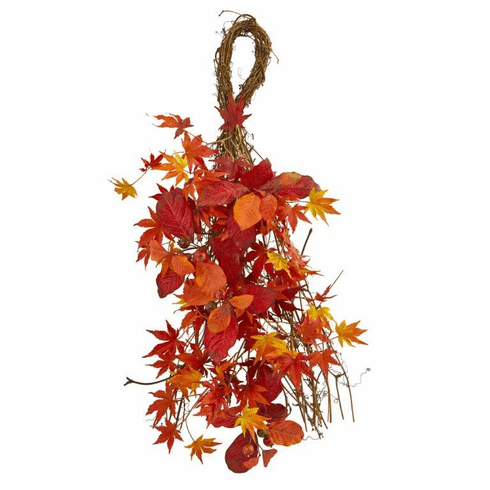 "26"" Mixed Japanese Maple, Magnolia Leaf and Berries Artificial Teardrop"