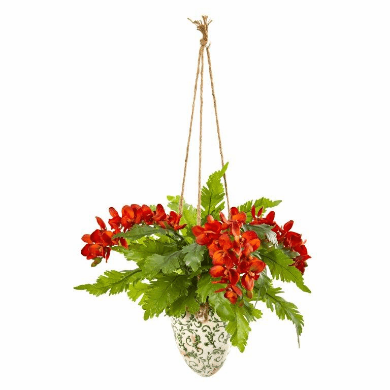 26� Phalaenopsis Orchid and Fern Artificial Plant in Hanging Vase - Orange