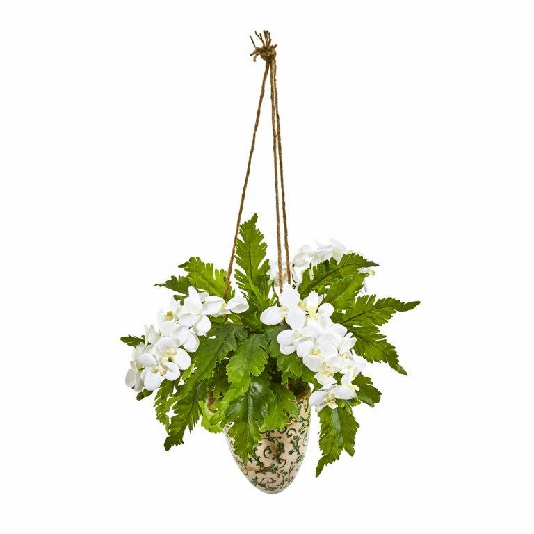 26� Phalaenopsis Orchid and Fern Artificial Plant in Hanging Vase - White