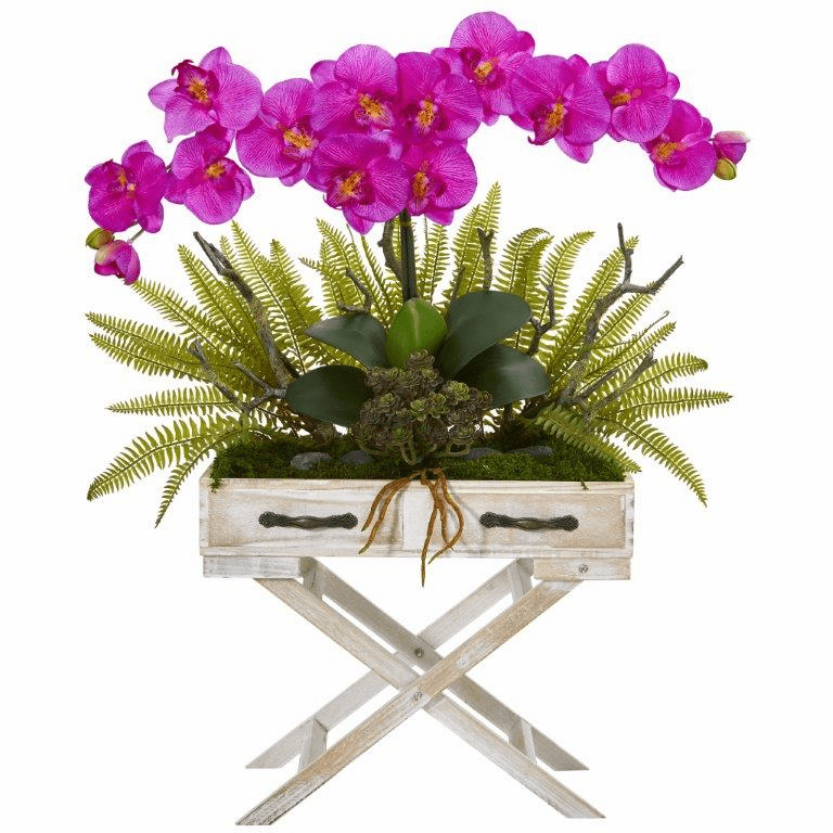 26� Phalaenopsis Orchid, Fern and Succulent Artificial Arrangement in Drawer Planter - Orchid