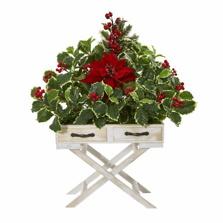 26� Poinsettia and Holly Berry Artificial Arrangement in Drawer Planter -