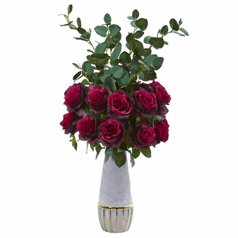 26� Rose and Eucalyptus Artificial Arrangement in Stoneware Vase with Gold Trimming - Burgundy