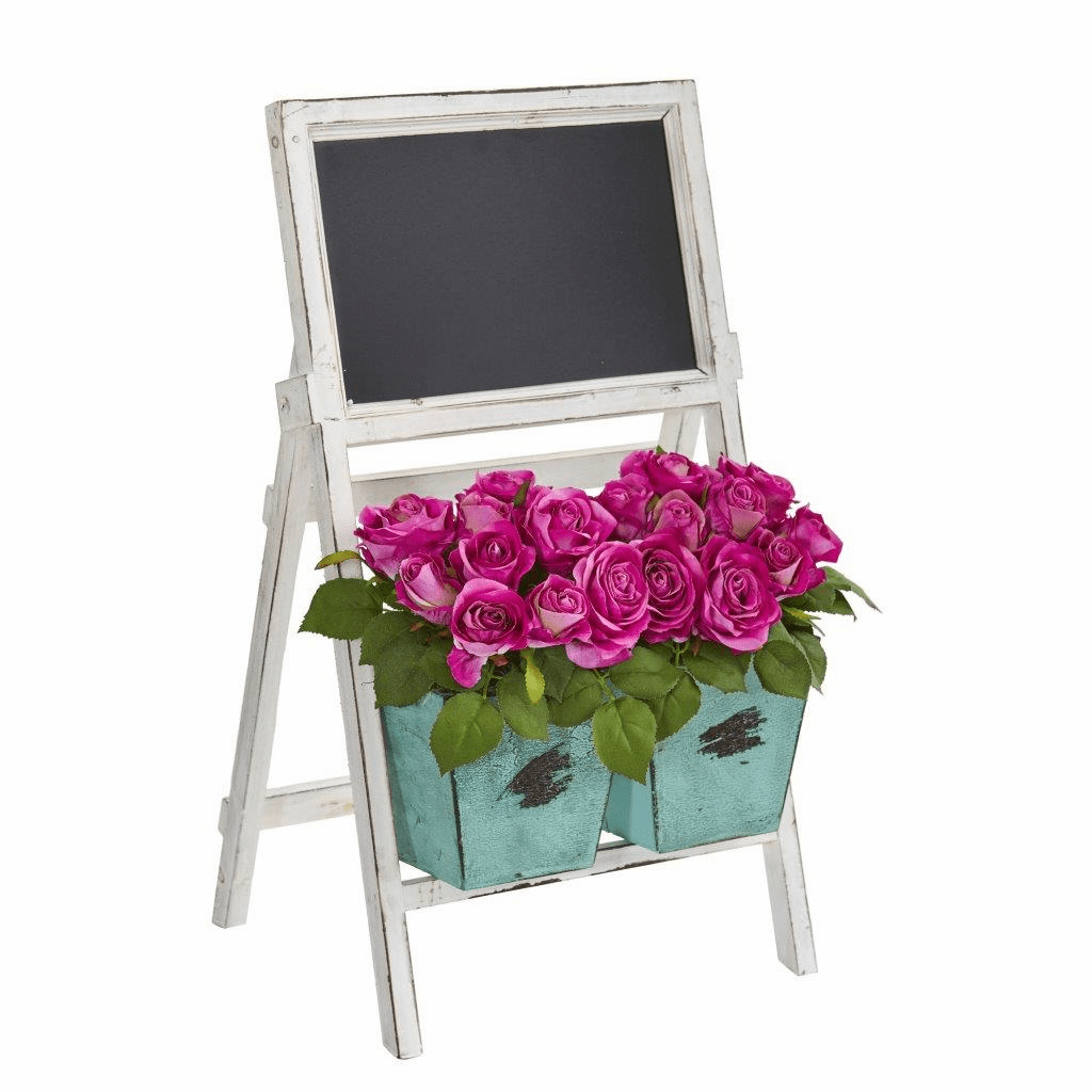 26� Rose Artificial Arrangement in Farmhouse Stand with Chalkboard