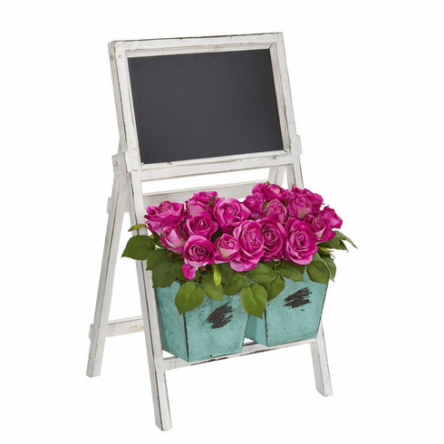 "26"" Rose Artificial Arrangement in Farmhouse Stand with Chalkboard"