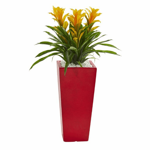 """26"""" Triple Bromeliad Artificial Plant in Red Planter - Yellow"""