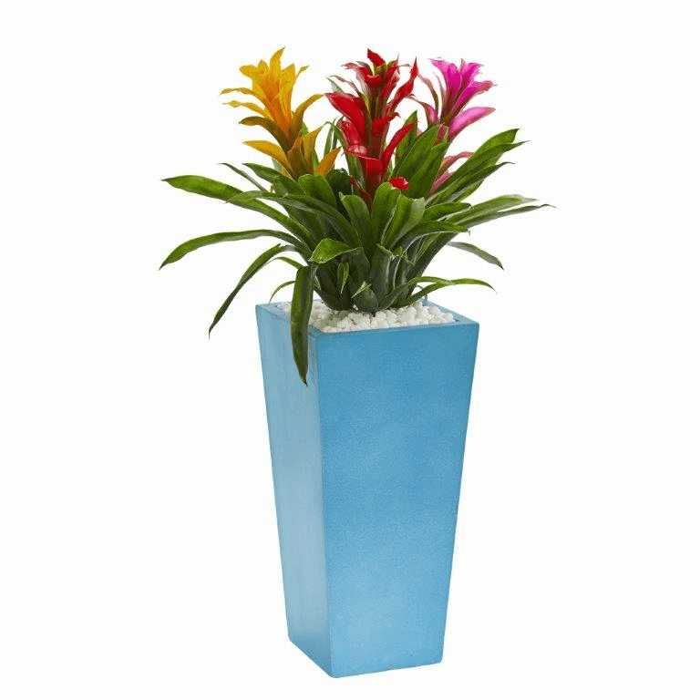 26� Triple Bromeliad Artificial Plant in Turquoise Tower Vase - Assorted