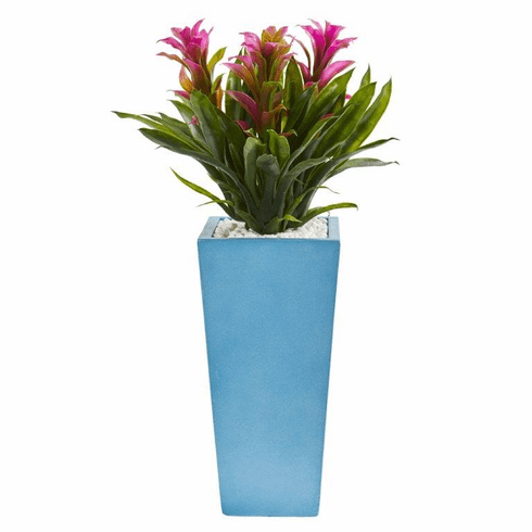 "26"" Triple Bromeliad Artificial Plant in Turquoise Tower Vase - Purple"