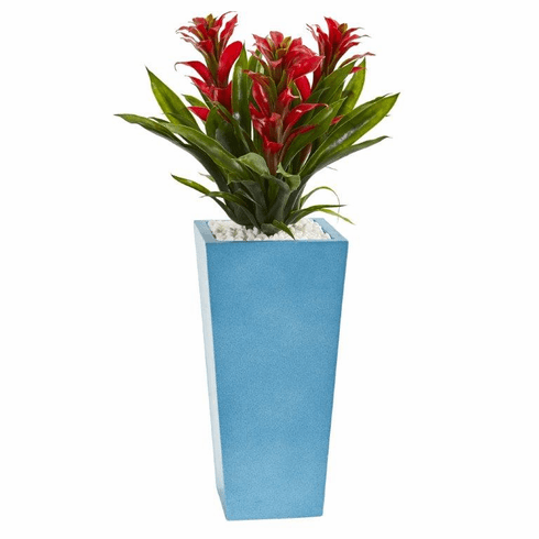 """26"""" Triple Bromeliad Artificial Plant in Turquoise Tower Vase - Red"""