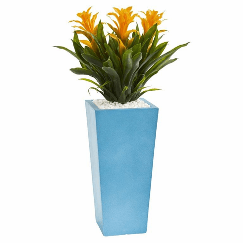 "26"" Triple Bromeliad Artificial Plant in Turquoise Tower Vase - Yellow"