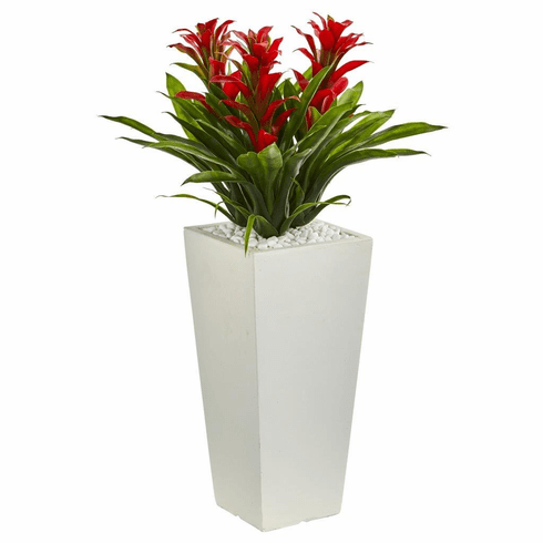 """26"""" Triple Bromeliad Artificial Plant in White Tower Planter"""