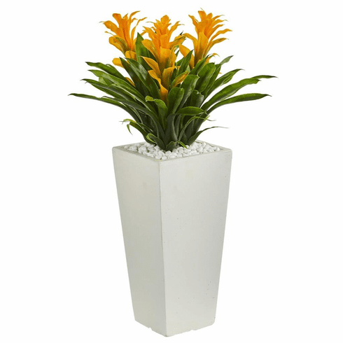 "26"" Triple Bromeliad Artificial Plant in White Tower Planter"