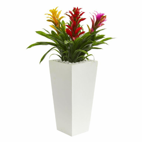 "26"" Triple Bromeliad Artificial Plant in White Tower Planter - Assorted"