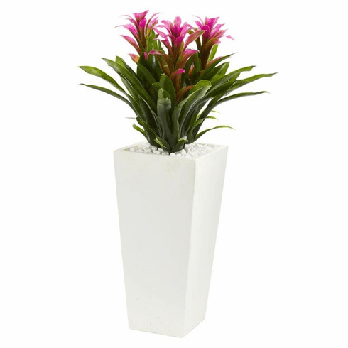 "26"" Triple Bromeliad Artificial Plant in White Tower Planter - Purple"