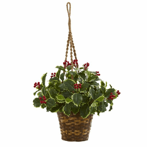 """26"""" Variegated Holly Artificial Plant in Hanging Basket (Real Touch)"""