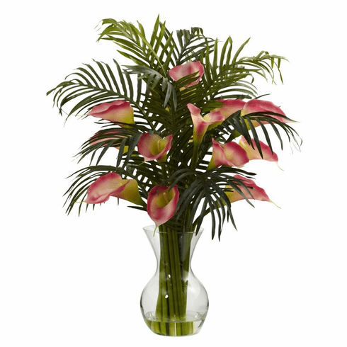 "27"" Artificial Calla Lily & Tropical Areca Palm Flower Arrangement - Pink"
