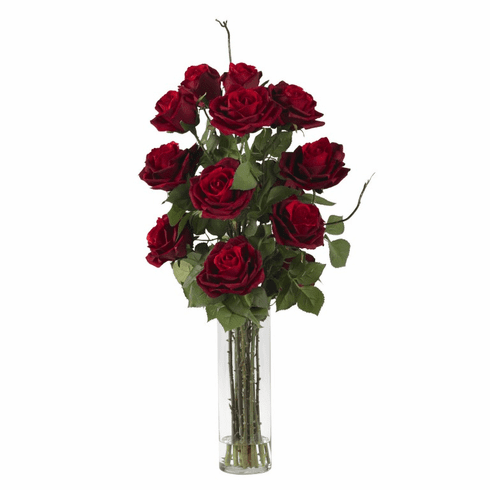 "27"" Artificial Roses in Cylinder Vase Silk Flower Arrangement"