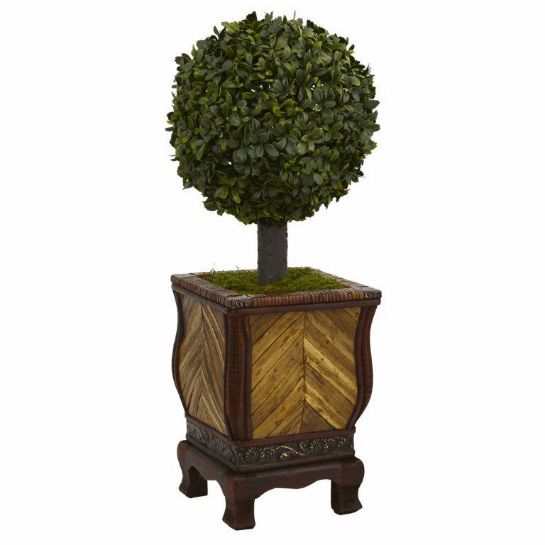 27� Boxwood Ball Topiary Artificial Tree in Decorative Planter