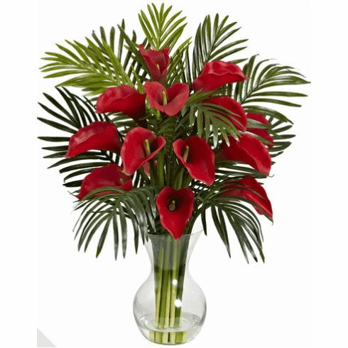 "27"" Calla Lily & Areca Palm Silk Flower Arrangement"