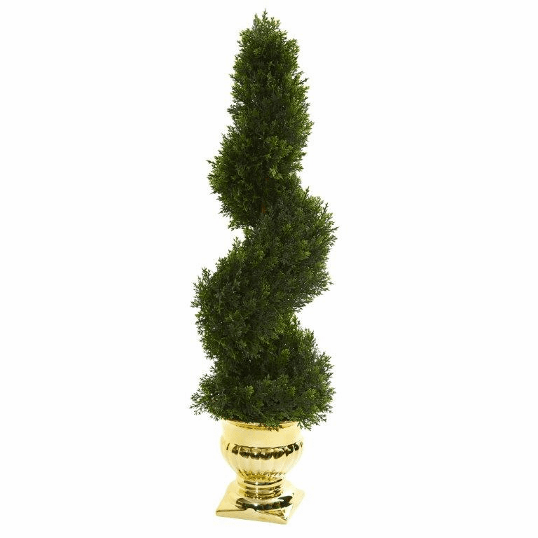 27� Cedar Spiral Artificial Topiary Tree in Gold Urn (Indoor/Outdoor)