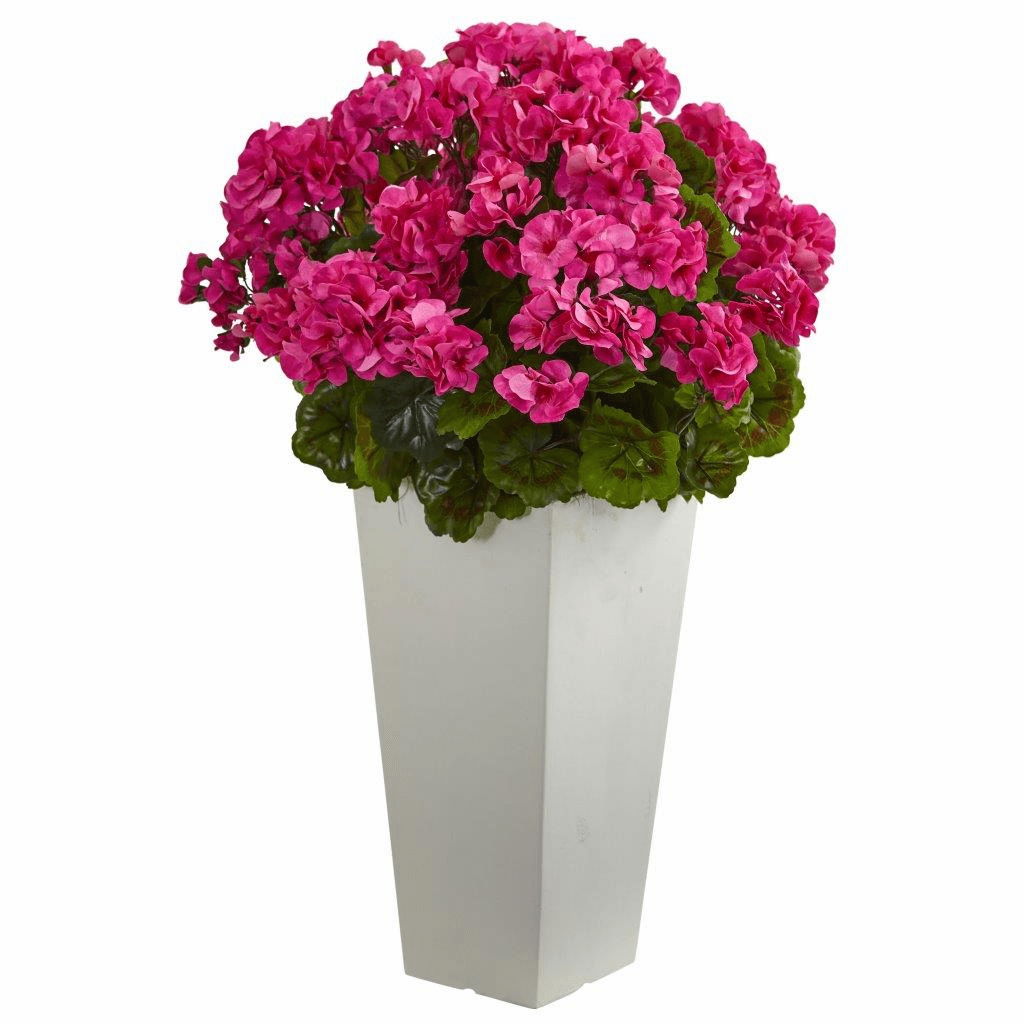 27� Geranium Artificial Plant in White Planter UV Resistant (Indoor/Outdoor)
