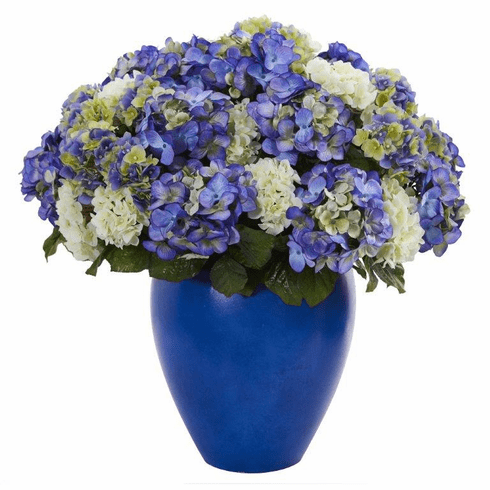 "27"" Hydrangea Artificial Plant in Blue Planter"