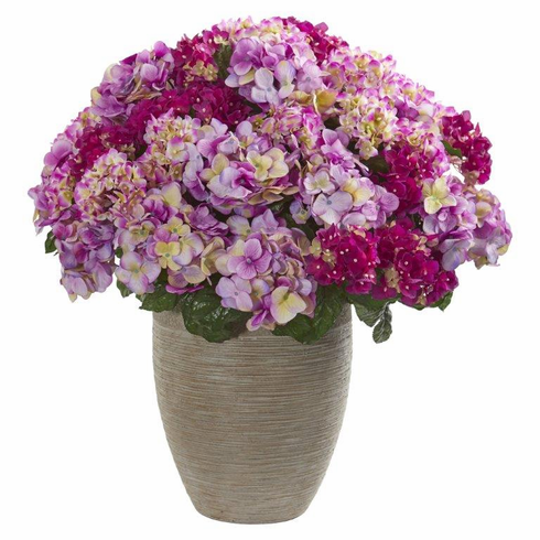 """27"""" Hydrangea Artificial Plant in Sand Colored Planter - Beauty"""