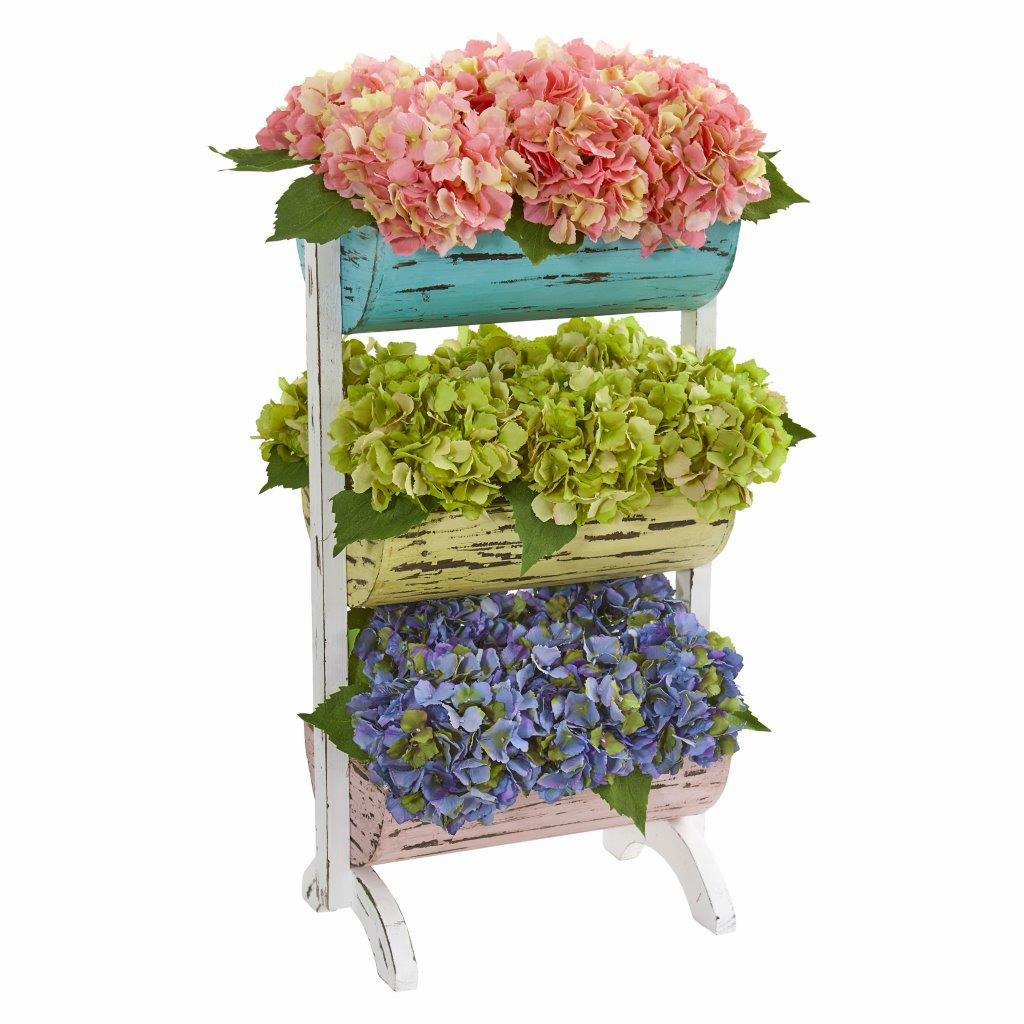 27� Hydrangea Garden Artificial Arrangement in Farmhouse Stand