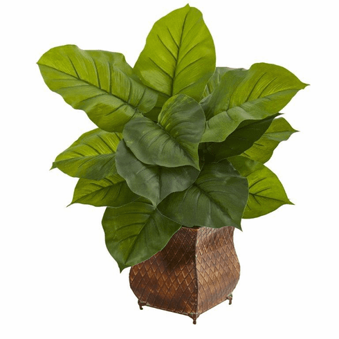 "27"" Large Leaf Philodendron Artificial Plant in Metal Planter (Real Touch)"